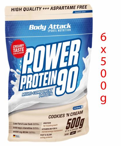 Body Attack Power Protein - 6x500g Packung SALE